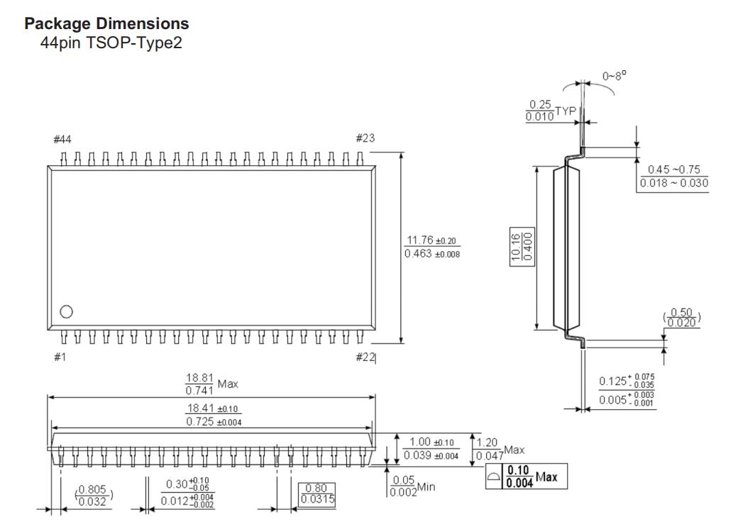 VTI508NL16低功耗SRAM芯片产品封装图