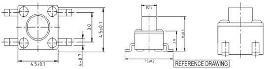 4.5*4.5MM Tactile Switches Structure Diagram RTS(M)(A)-4/R0088
