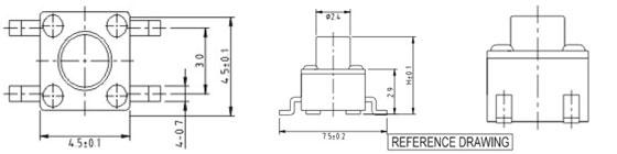 4.5*4.5MM轻触开关RTS(M)(A)-4/R0088结构图